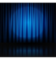 Spotlight on blue stage curtain vector image vector image