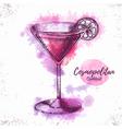 Watercolor cocktail cosmopolitan sketch vector image