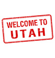 welcome to Utah red grunge square stamp vector image vector image