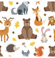 wild forest animals seamless pattern design vector image vector image