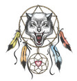 wolf head native americans totem symbol vector image