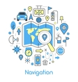 Navigation Cartography Thin Line Icons Set vector image