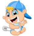 Cartoon baby holding bottle vector image