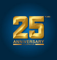 25 years anniversary celebration logotype golden vector image vector image