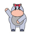 adorable female hippopotamus animal with hand up vector image vector image