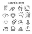 australia icon set in thin line style vector image