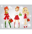 Beautiful Girls With Christmas Bags vector image