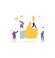 big hand with thumb up and working flat people vector image