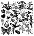 black and white tattoo set vector image vector image
