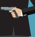 Businessman holding a gun behind his back vector image vector image
