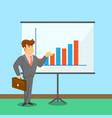 businessman near board with financial diagram vector image vector image