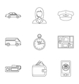 Call taxi icons set outline style vector image vector image