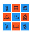 camping line icons set backpack hike tent vector image vector image