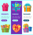 cartoon color gift boxes banner vecrtical set vector image vector image