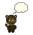 cute cartoon black bear waving with thought bubble vector image vector image