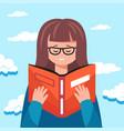 cute woman reading a book educational concept vector image vector image