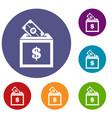 donation box icons set vector image vector image