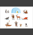 eskimo characters in traditional clothing and vector image vector image