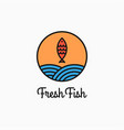fish round logo linear circle with and waves vector image