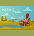 fisherman with fishing rod vector image vector image