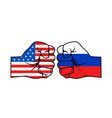 fists american and russian usa vs russia vector image