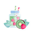 fruit cocktail with kiwi and strawberry glass jar vector image