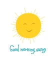 Funny sun smiling in the sky Good morning theme vector image