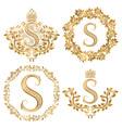 Golden S letter vintage monograms set Heraldic vector image vector image