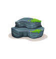 gray rock stone boulder with moss design element vector image vector image