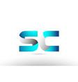 grey blue alphabet letter sc s c logo 3d design vector image vector image