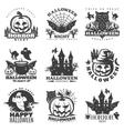 Halloween Black White Emblems vector image