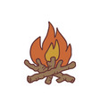 hand drawn bonfire sketch colored vector image