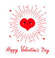 happy valentines day red heart face head icon vector image vector image