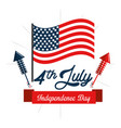 independence day with fireworks and flag vector image