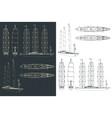 large modern sailing ship drawings vector image vector image