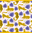 leopard and tropical leaves pattern vector image vector image