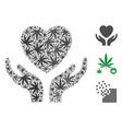 love heart care hands collage of marijuana vector image vector image