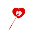 magic wand with romantic hearts shape vector image vector image