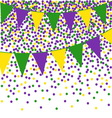 Mardi Gras bunting background with confetti vector image vector image