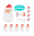 merry christmas set of santa claus face icons vector image