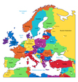 Multicolored map of Europe vector image