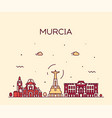 murcia skyline spain drawn linear style vector image vector image