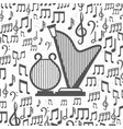 music background with harps and notes vector image
