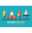 Music band in flat design background concept vector image