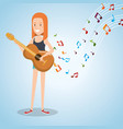 music festival live with woman playing acoustic vector image vector image