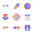 patriotism day icons set cartoon style vector image vector image