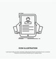 resume employee hiring hr profile icon line gray vector image vector image