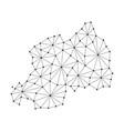 rwanda map of polygonal mosaic lines network rays vector image vector image