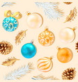 seamless christmas decorations and holly and cones vector image