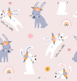 seamless pattern with cute jumping rabbits vector image vector image